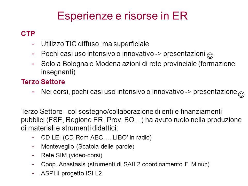 Esperienze e risorse in ER