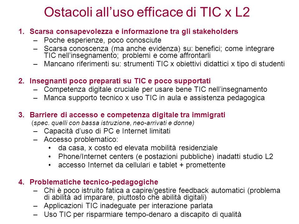 Ostacoli all'uso efficace di TIC x L2