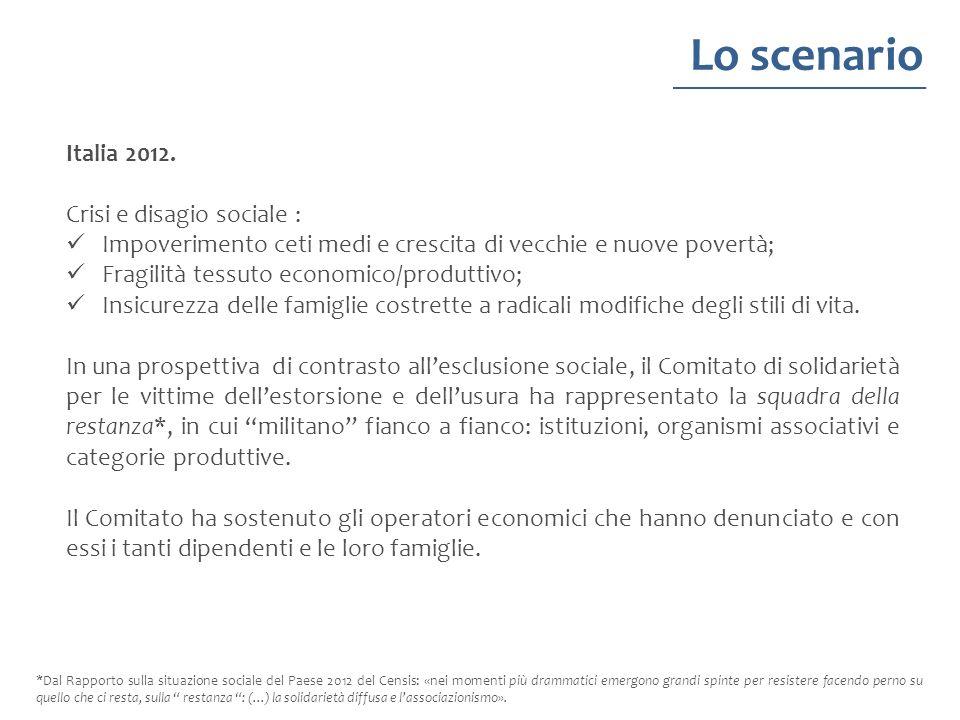 Lo scenario Italia 2012. Crisi e disagio sociale :