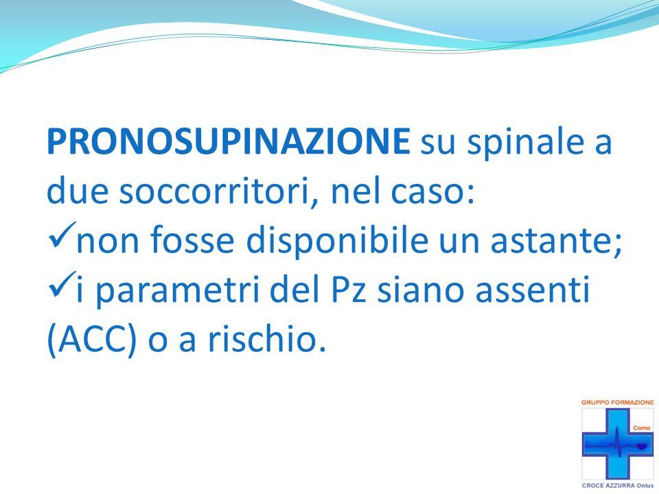 PRONOSUPINAZIONE su spinale a due soccorritori, nel caso: