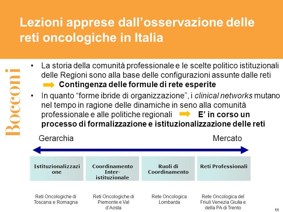 Lezioni apprese dall'osservazione delle reti oncologiche in Italia