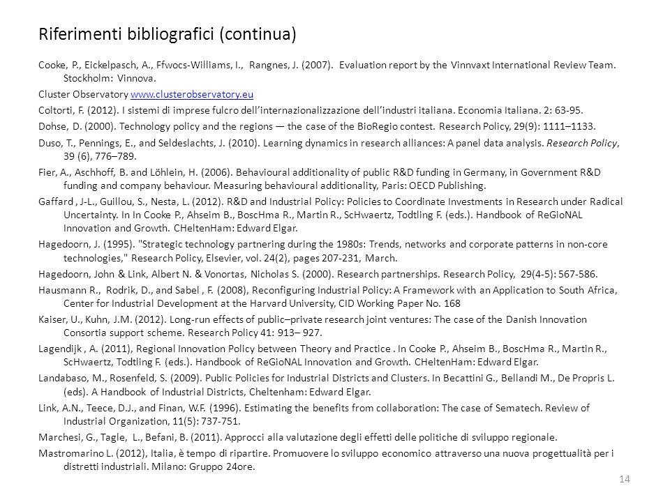 Riferimenti bibliografici (continua)