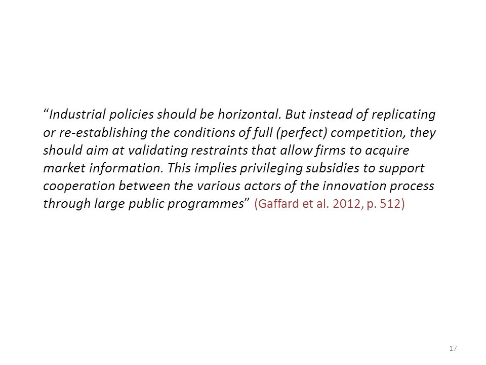 Industrial policies should be horizontal