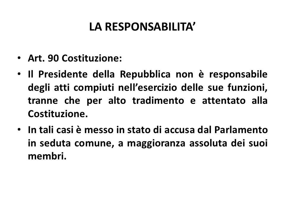 LA RESPONSABILITA' Art. 90 Costituzione:
