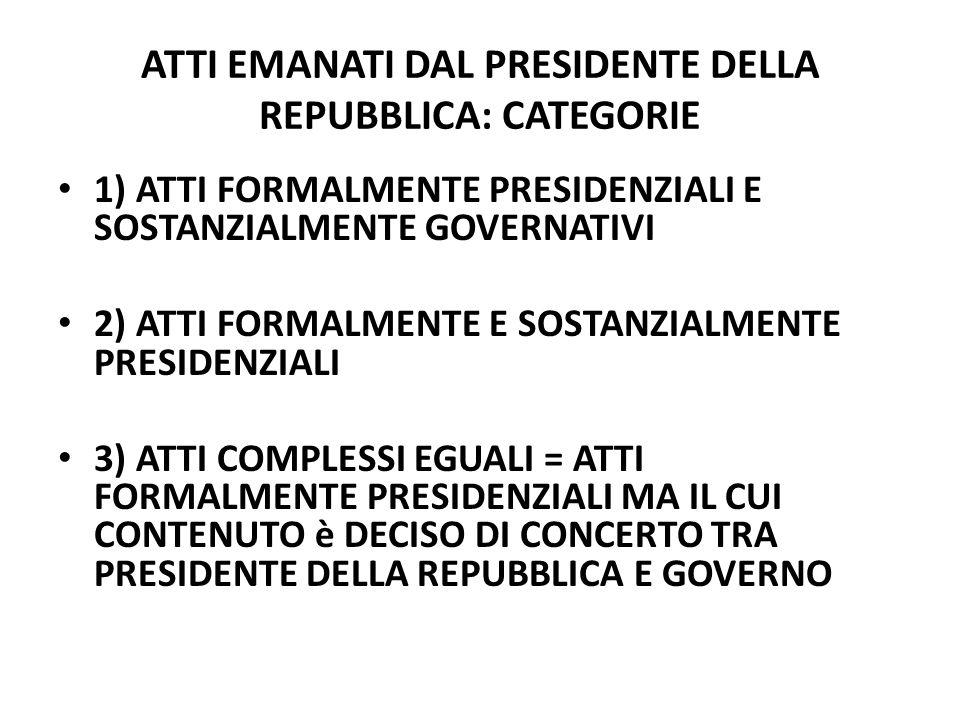 ATTI EMANATI DAL PRESIDENTE DELLA REPUBBLICA: CATEGORIE
