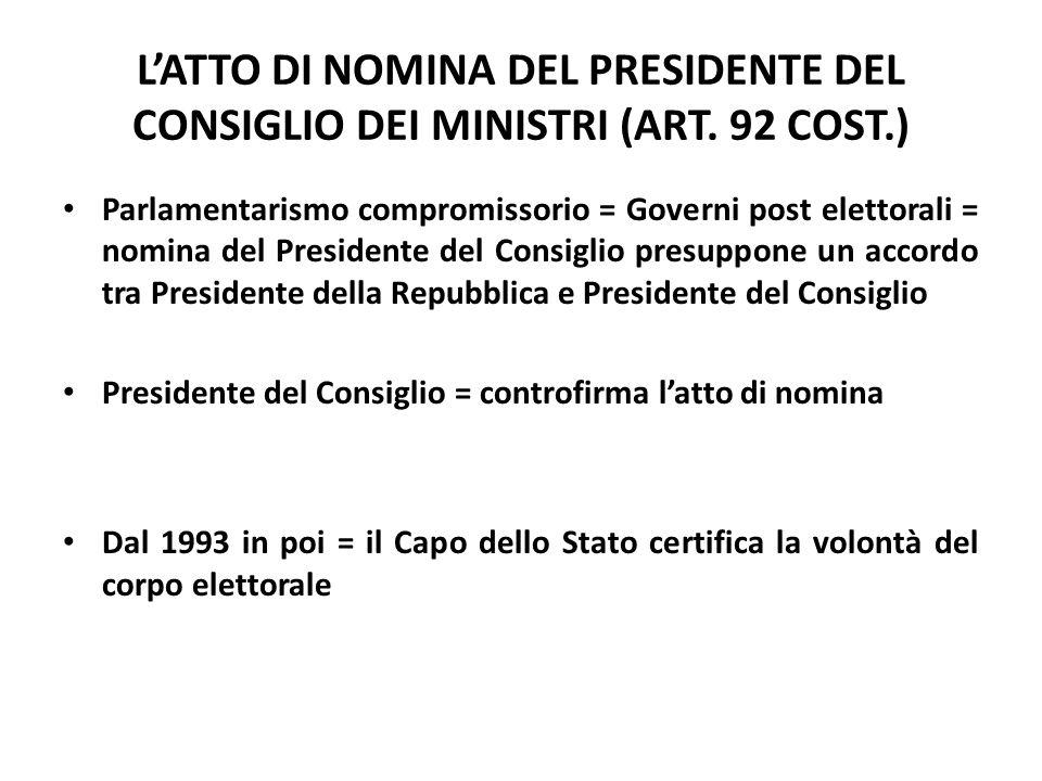 L'ATTO DI NOMINA DEL PRESIDENTE DEL CONSIGLIO DEI MINISTRI (ART