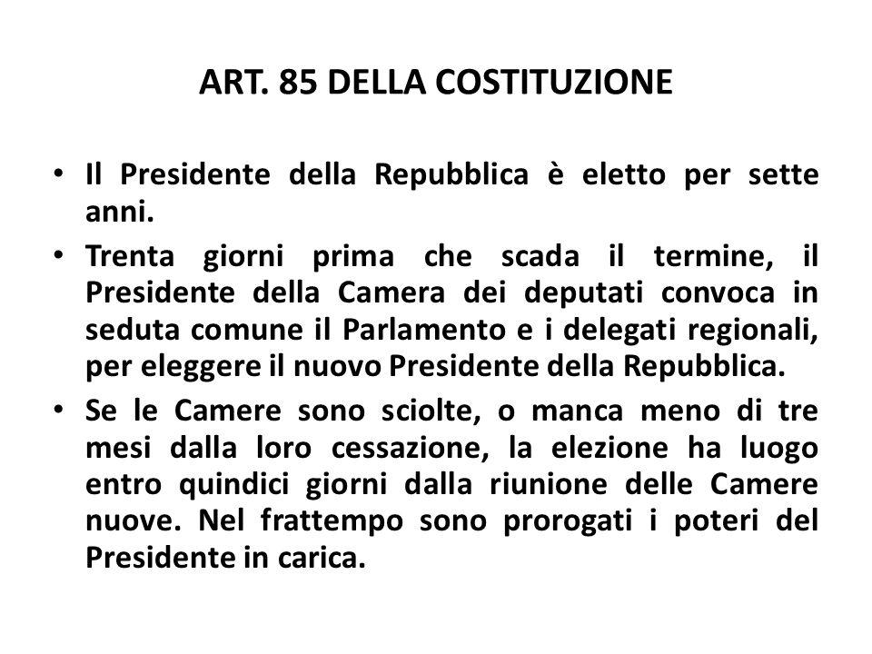 ART. 85 DELLA COSTITUZIONE