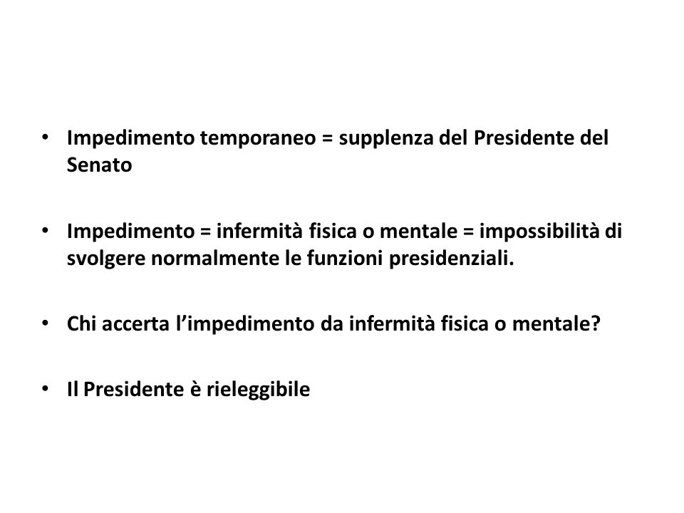 Impedimento temporaneo = supplenza del Presidente del Senato