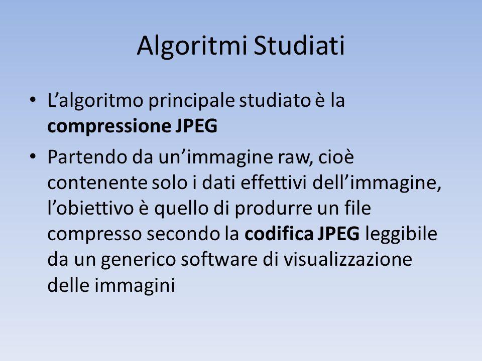 Algoritmi Studiati L'algoritmo principale studiato è la compressione JPEG.