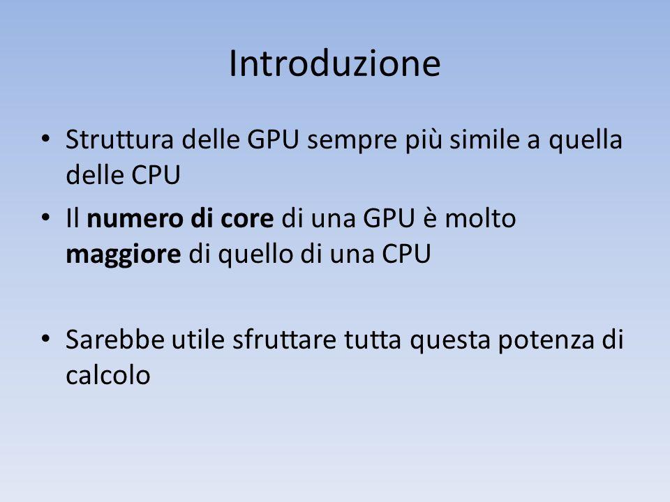 Introduzione Struttura delle GPU sempre più simile a quella delle CPU