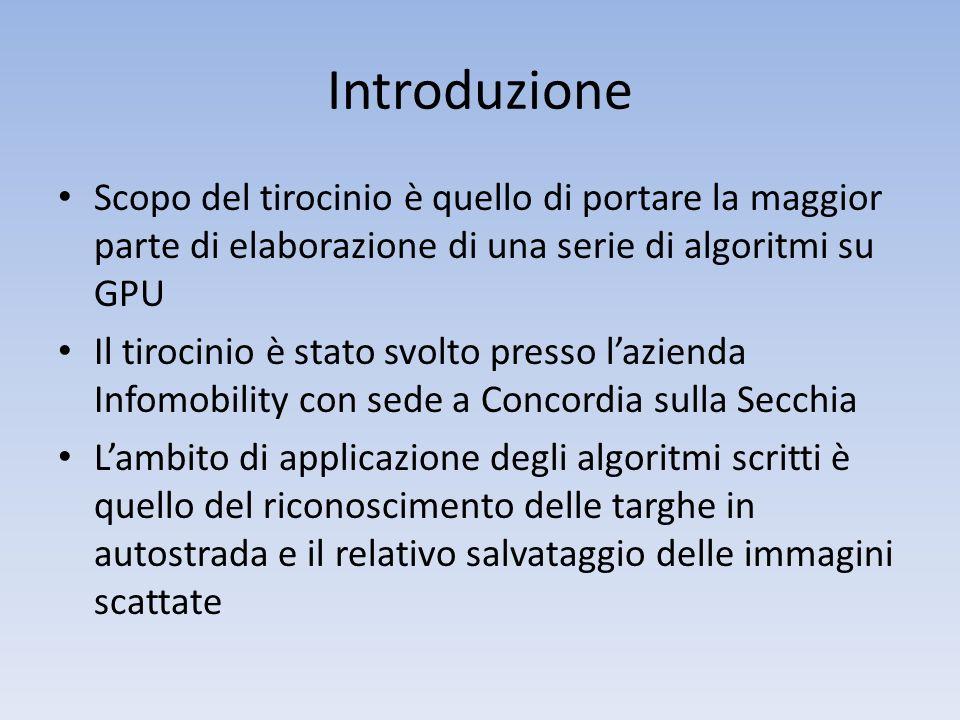 Introduzione Scopo del tirocinio è quello di portare la maggior parte di elaborazione di una serie di algoritmi su GPU.