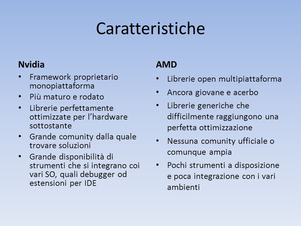 Caratteristiche Nvidia AMD Framework proprietario monopiattaforma