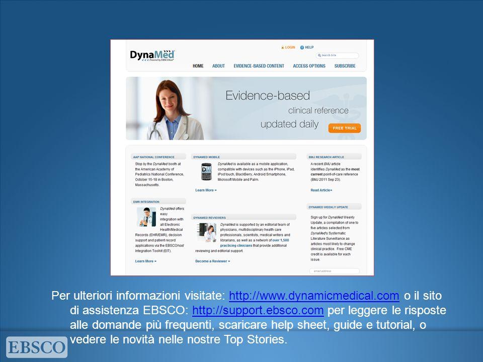 Per ulteriori informazioni visitate: http://www. dynamicmedical