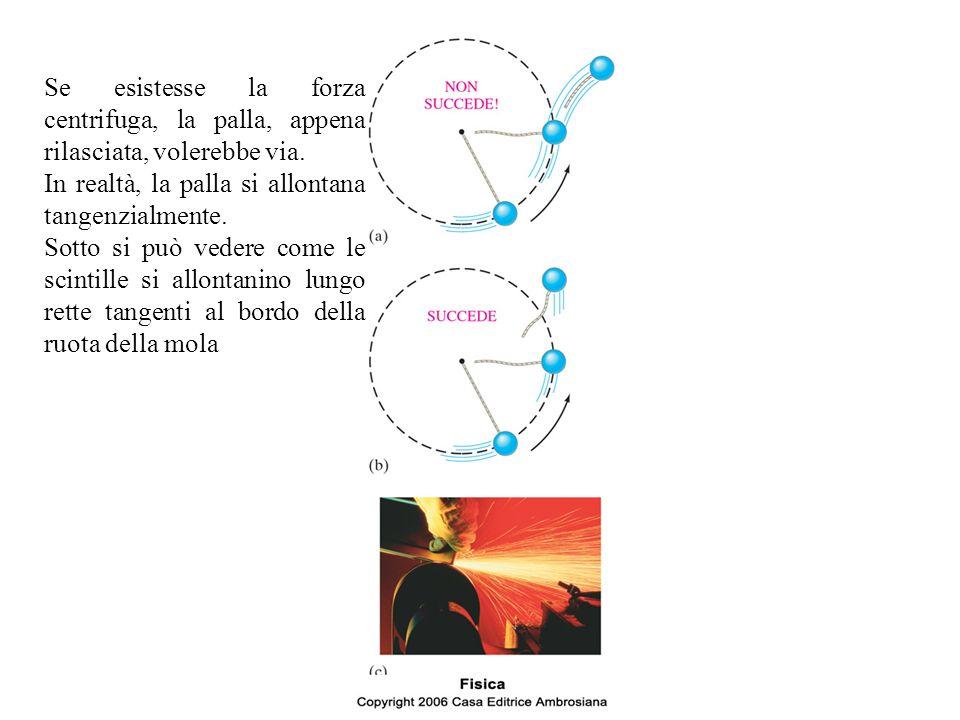 Se esistesse la forza centrifuga, la palla, appena rilasciata, volerebbe via.
