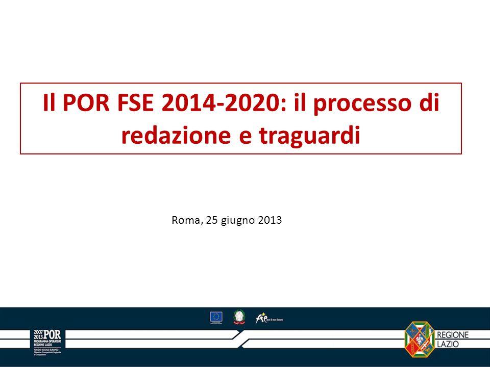 Il POR FSE 2014-2020: il processo di redazione e traguardi