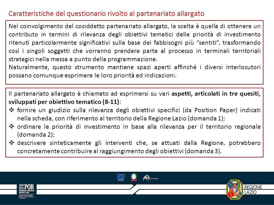 Caratteristiche del questionario rivolto al partenariato allargato