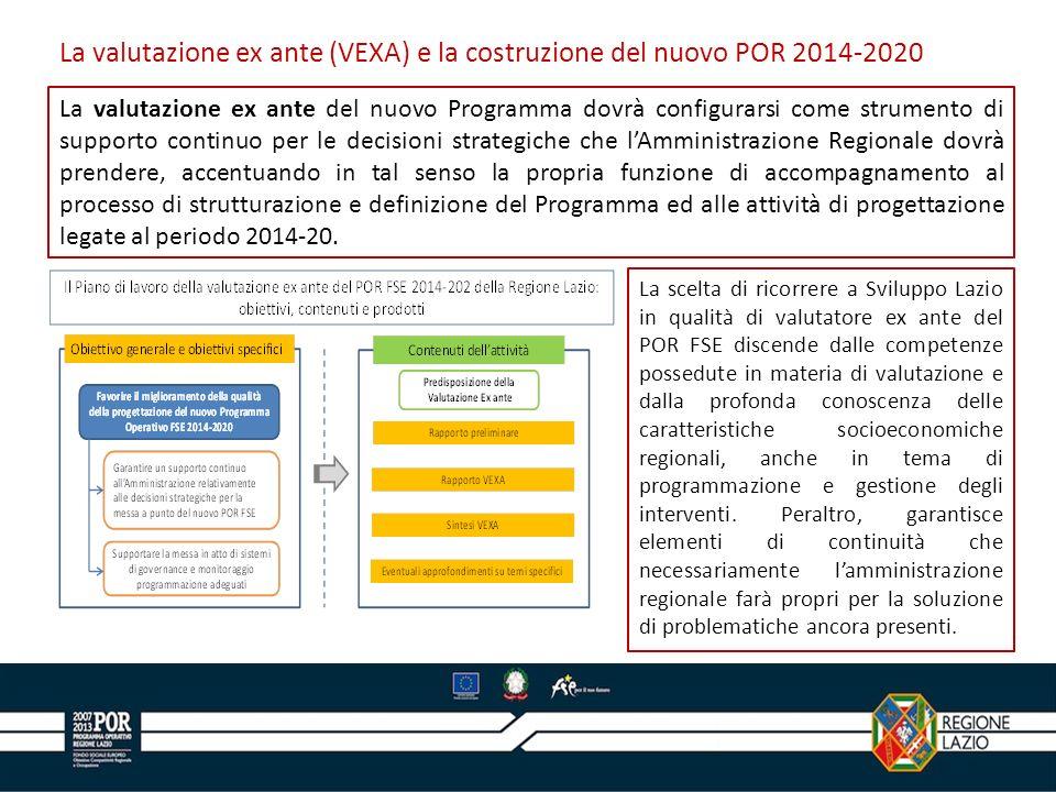 La valutazione ex ante (VEXA) e la costruzione del nuovo POR 2014-2020