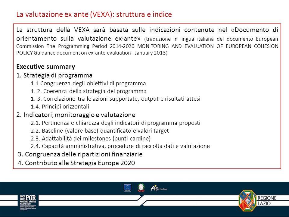 La valutazione ex ante (VEXA): struttura e indice