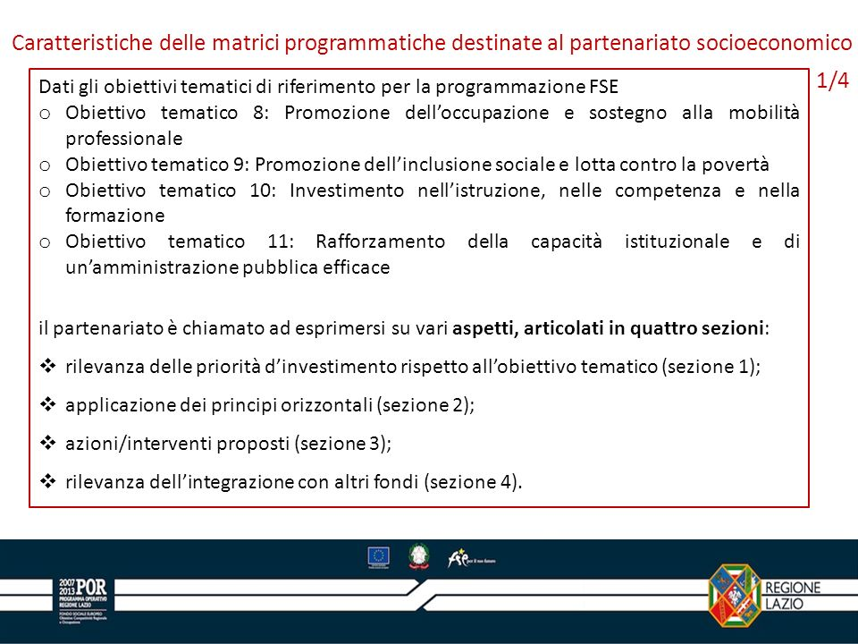 Caratteristiche delle matrici programmatiche destinate al partenariato socioeconomico