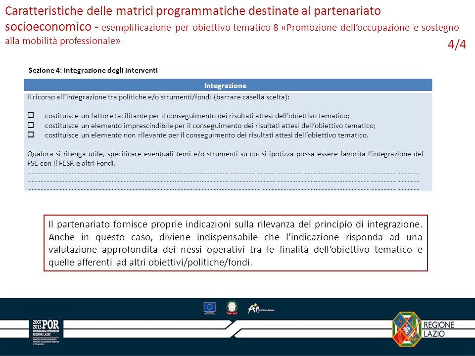 Caratteristiche delle matrici programmatiche destinate al partenariato socioeconomico - esemplificazione per obiettivo tematico 8 «Promozione dell'occupazione e sostegno alla mobilità professionale»