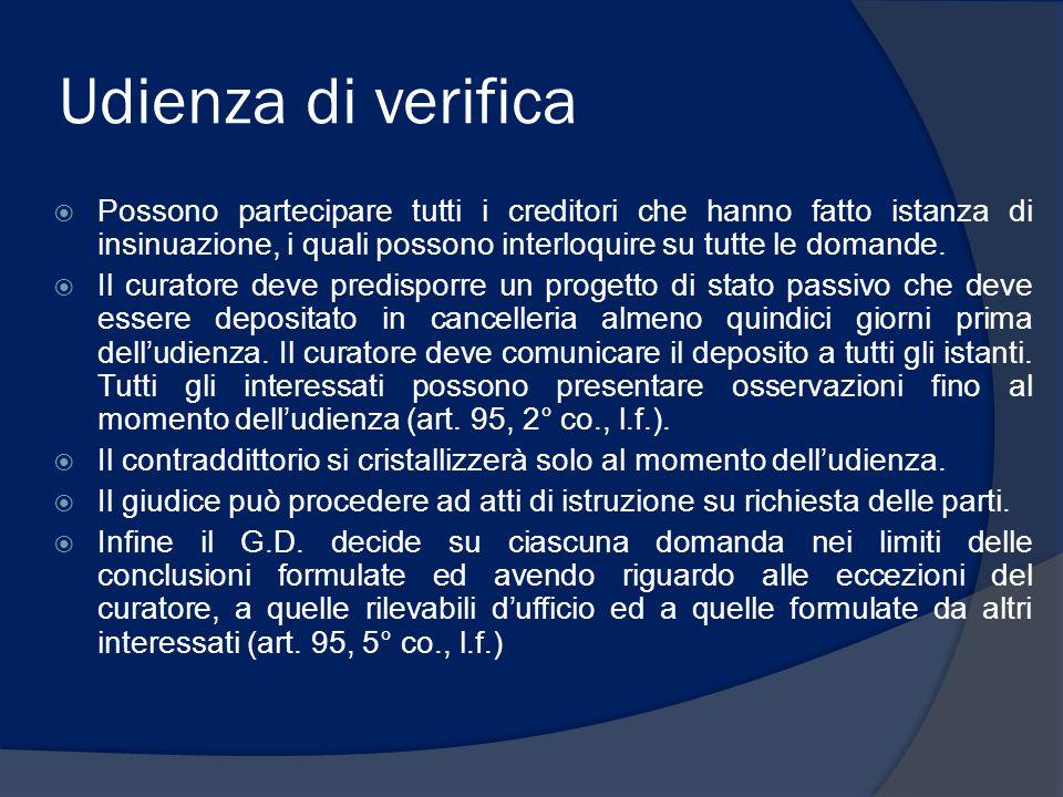 Udienza di verifica Possono partecipare tutti i creditori che hanno fatto istanza di insinuazione, i quali possono interloquire su tutte le domande.