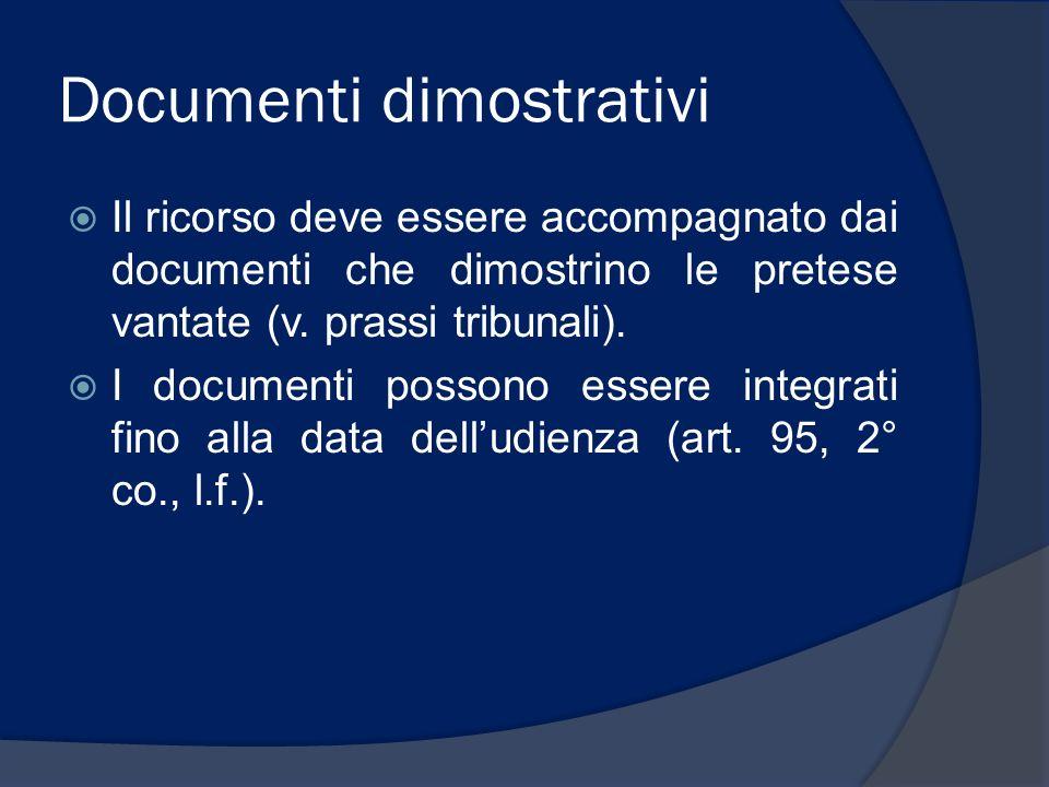 Documenti dimostrativi
