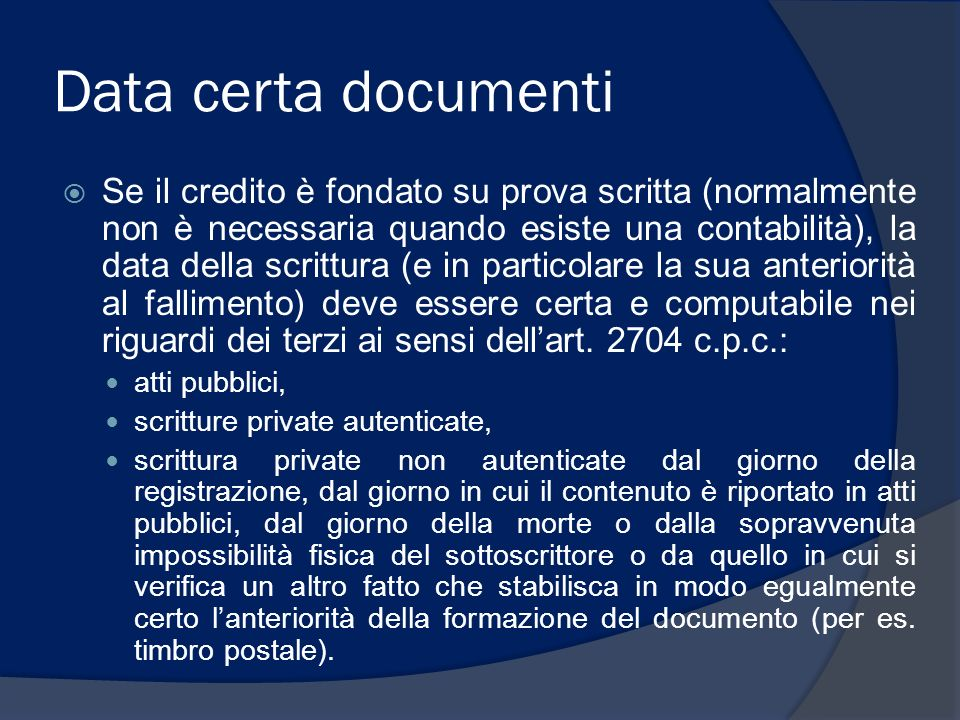 Data certa documenti