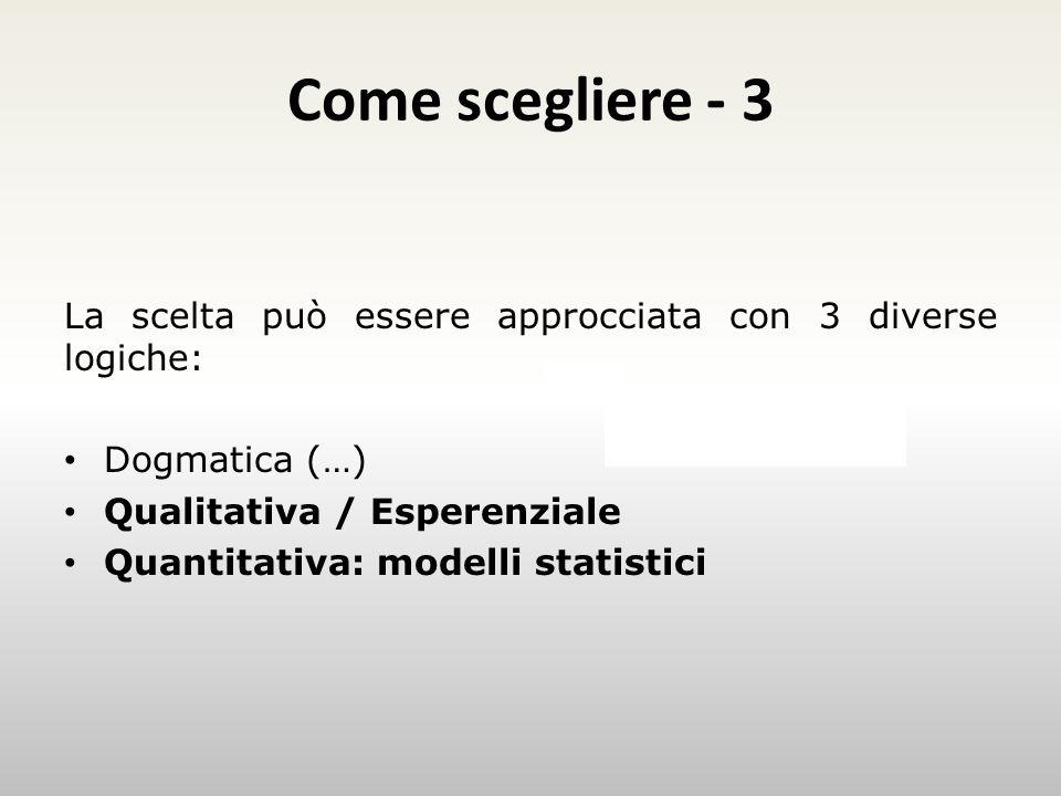 Come scegliere - 3 La scelta può essere approcciata con 3 diverse logiche: Dogmatica (…) Qualitativa / Esperenziale.