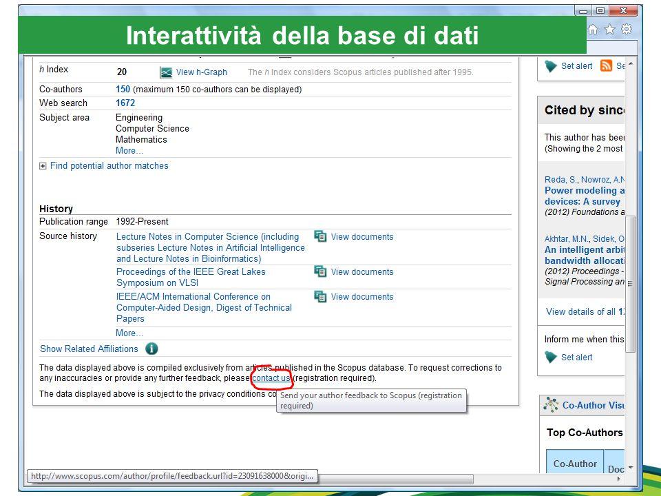 Interattività della base di dati