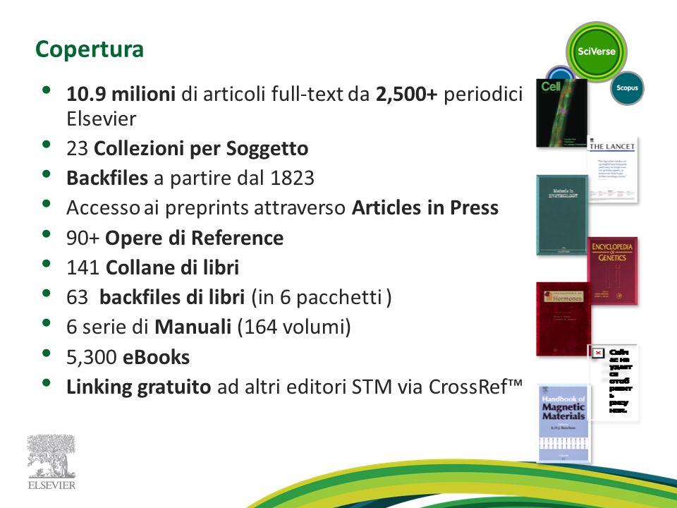 Copertura 10.9 milioni di articoli full-text da 2,500+ periodici Elsevier. 23 Collezioni per Soggetto.