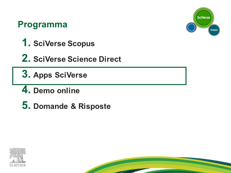 Programma SciVerse Scopus SciVerse Science Direct Apps SciVerse