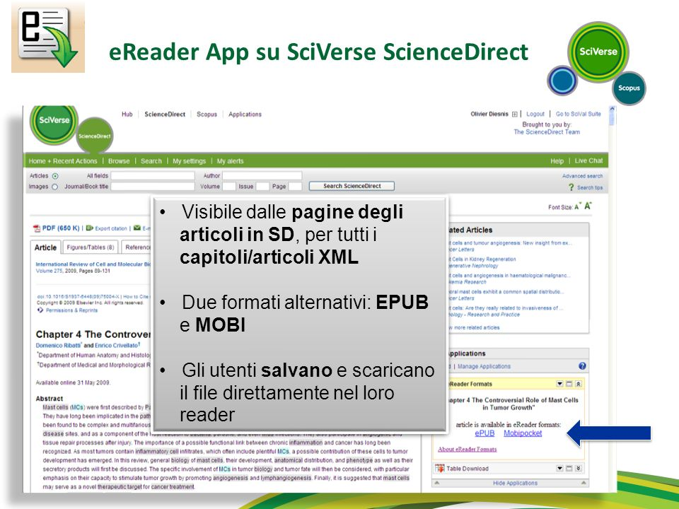 eReader App su SciVerse ScienceDirect