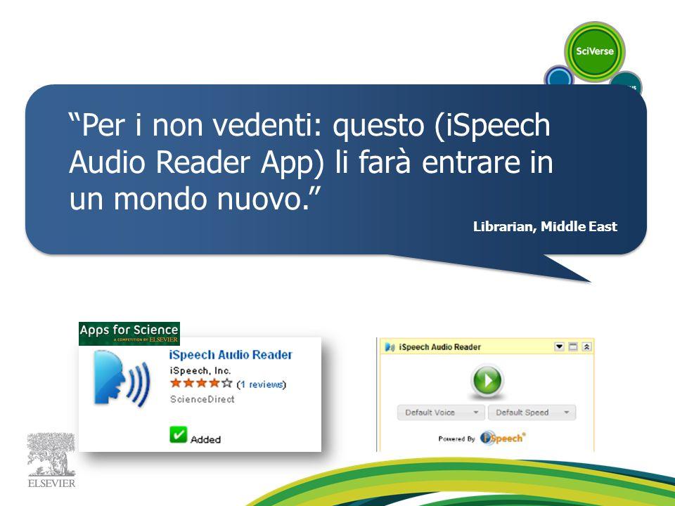 Per i non vedenti: questo (iSpeech Audio Reader App) li farà entrare in un mondo nuovo.