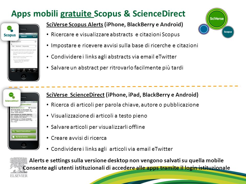 Apps mobili gratuite Scopus & ScienceDirect