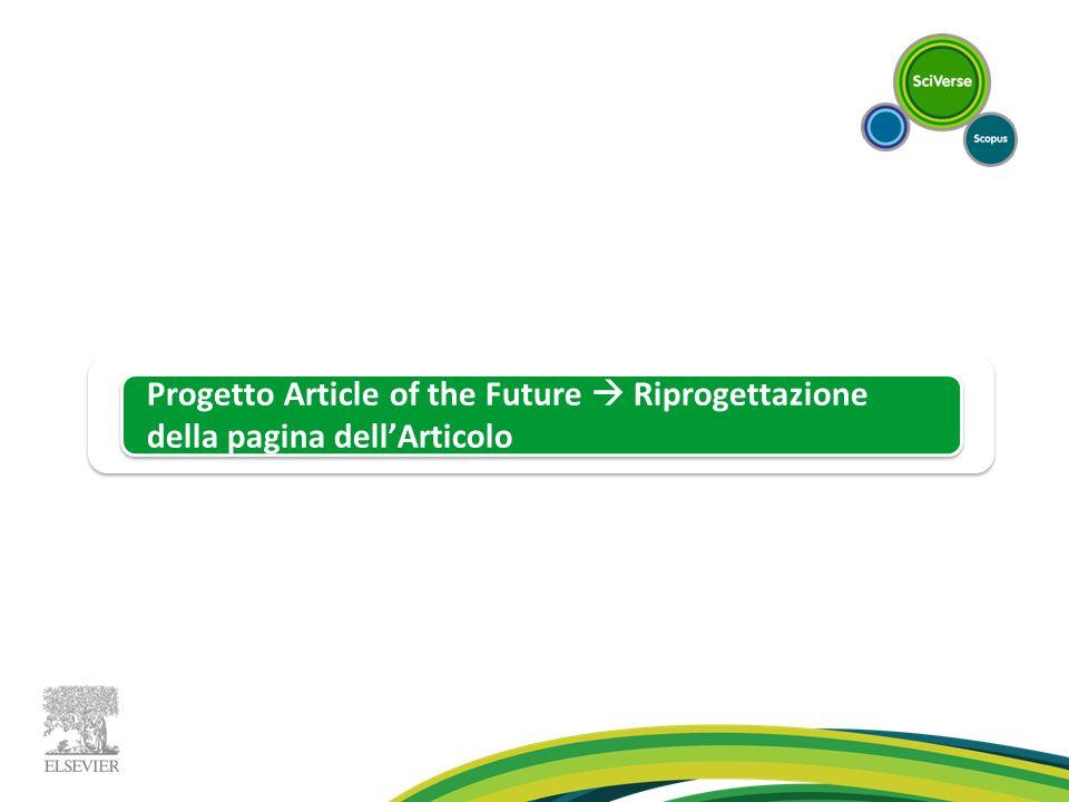 Progetto Article of the Future  Riprogettazione della pagina dell'Articolo