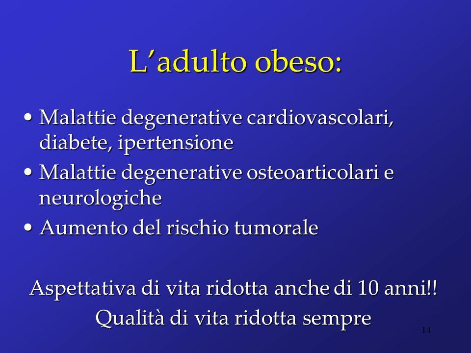 L'adulto obeso: Malattie degenerative cardiovascolari, diabete, ipertensione. Malattie degenerative osteoarticolari e neurologiche.