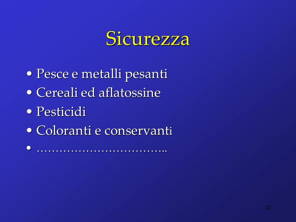 Sicurezza Pesce e metalli pesanti Cereali ed aflatossine Pesticidi