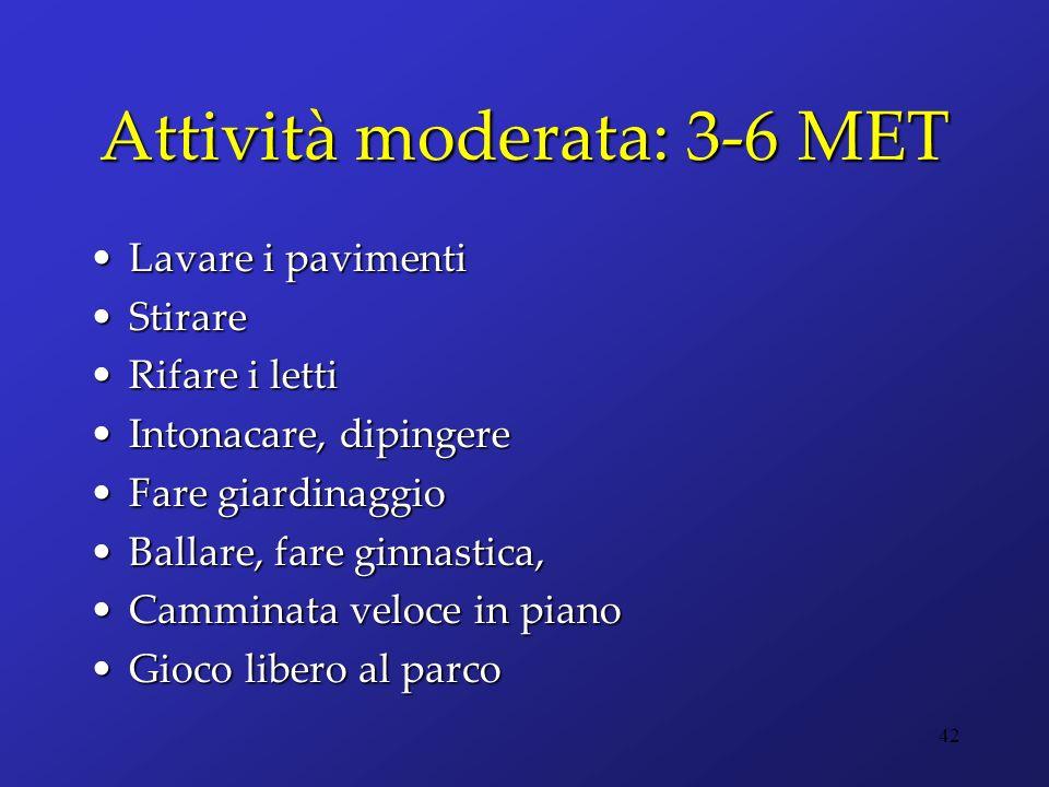 Attività moderata: 3-6 MET