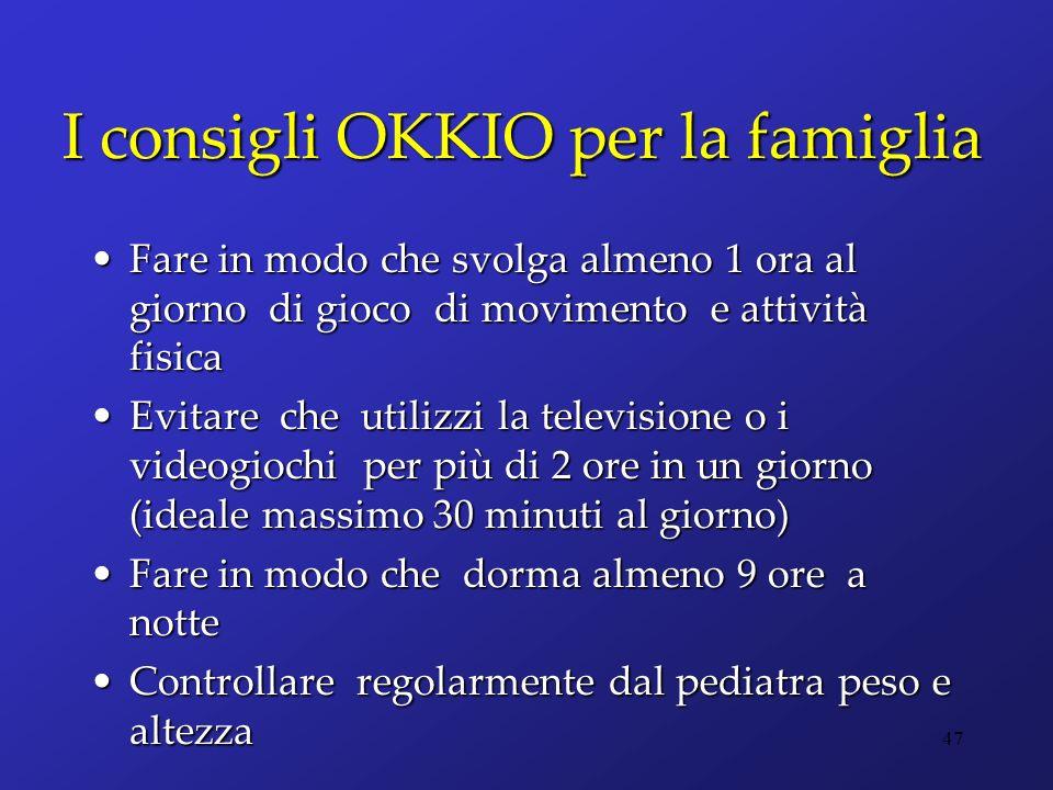 I consigli OKKIO per la famiglia