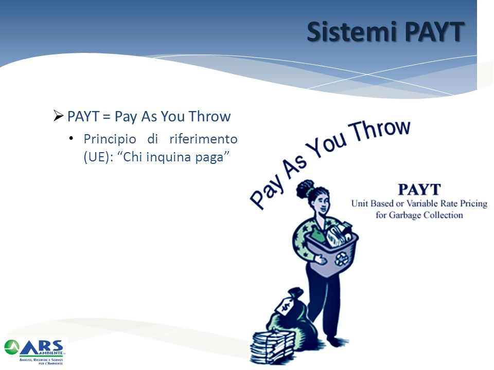 Sistemi PAYT PAYT = Pay As You Throw