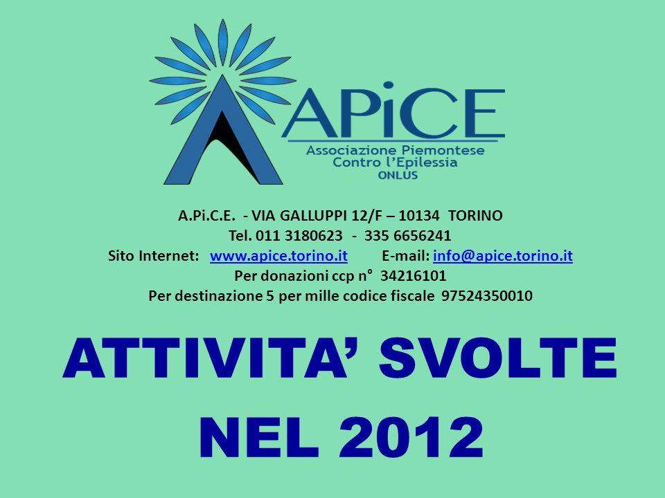 ATTIVITA' SVOLTE NEL 2012 A.Pi.C.E. - VIA GALLUPPI 12/F – 10134 TORINO