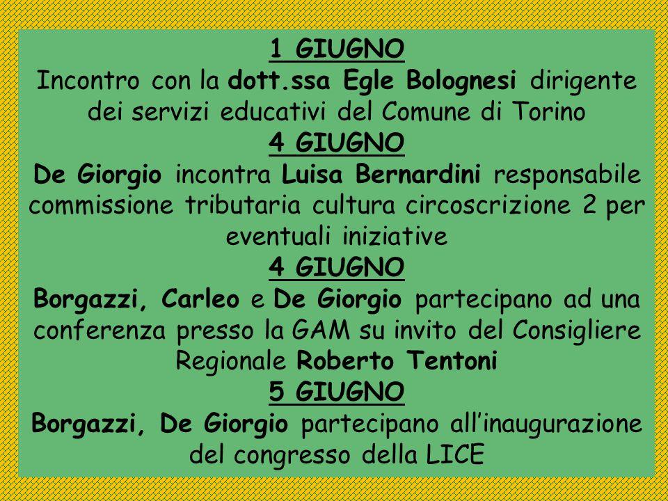 1 GIUGNOIncontro con la dott.ssa Egle Bolognesi dirigente dei servizi educativi del Comune di Torino.