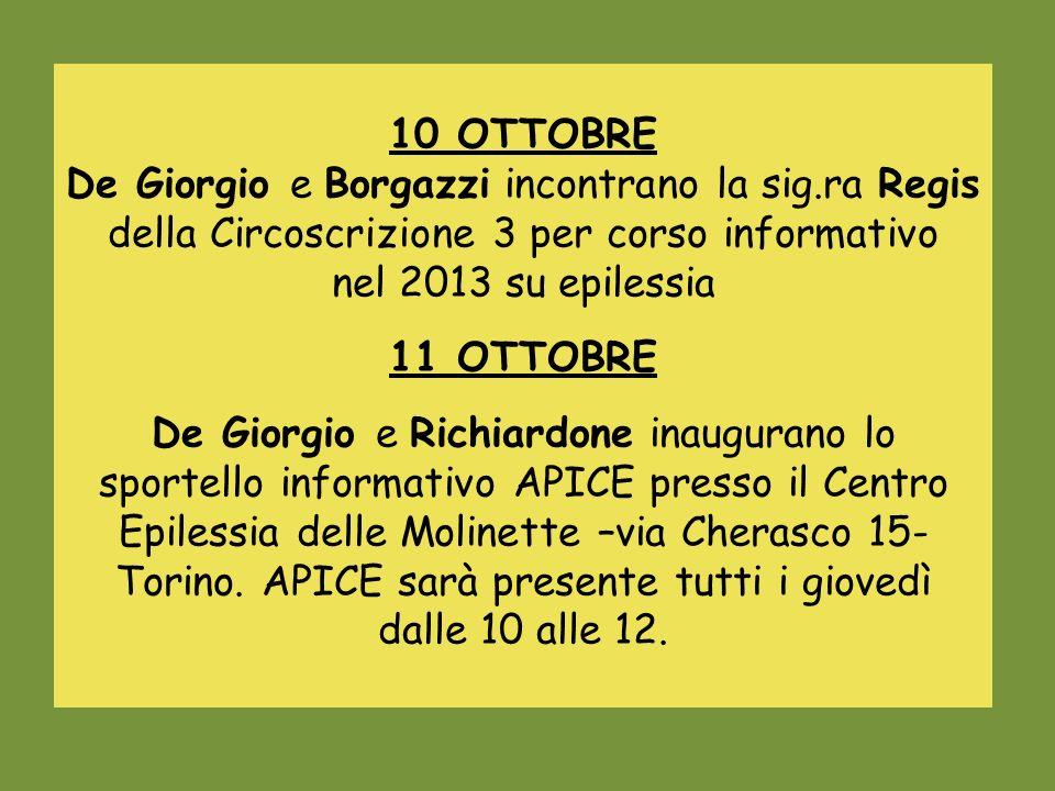 10 OTTOBRE De Giorgio e Borgazzi incontrano la sig.ra Regis della Circoscrizione 3 per corso informativo.