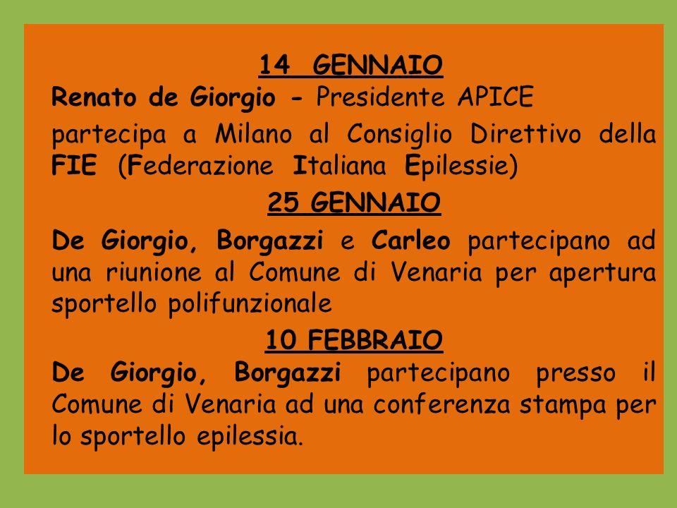 14 GENNAIORenato de Giorgio - Presidente APICE. partecipa a Milano al Consiglio Direttivo della FIE (Federazione Italiana Epilessie)