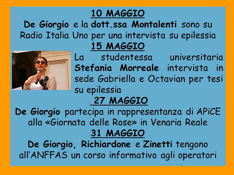 10 MAGGIO De Giorgio e la dott.ssa Montalenti sono su Radio Italia Uno per una intervista su epilessia.