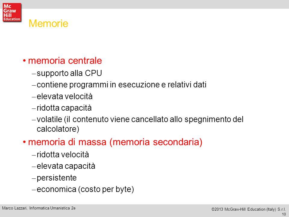 Memorie memoria centrale memoria di massa (memoria secondaria)