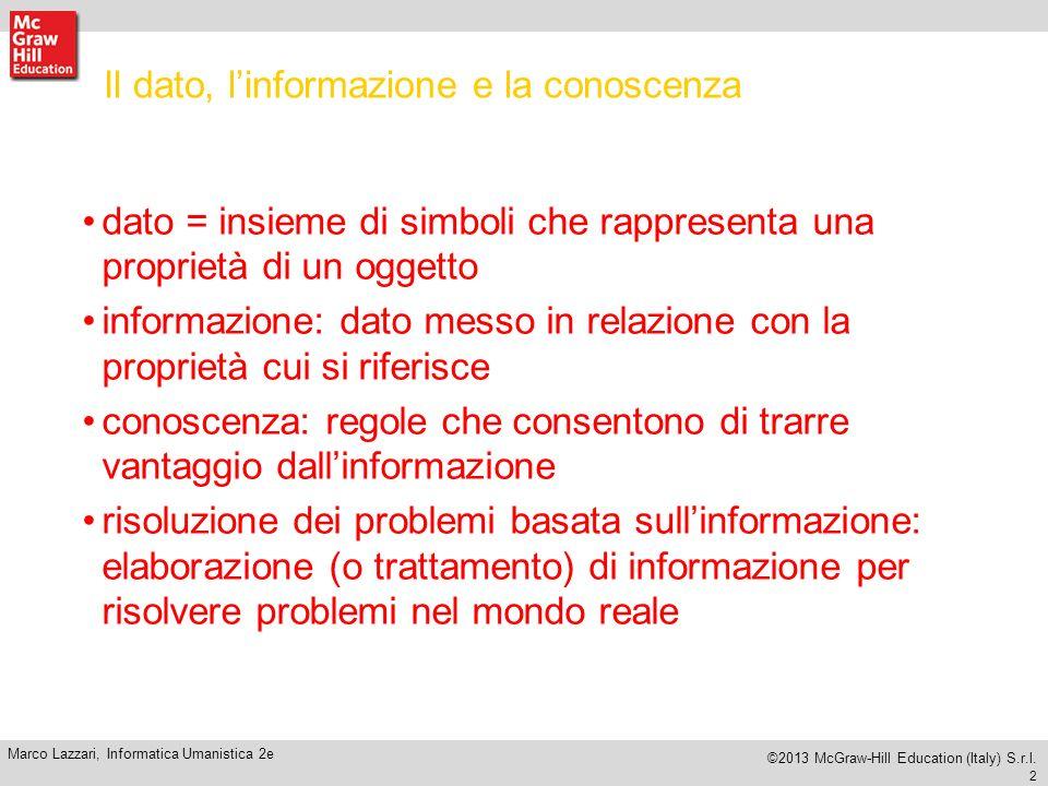 Il dato, l'informazione e la conoscenza
