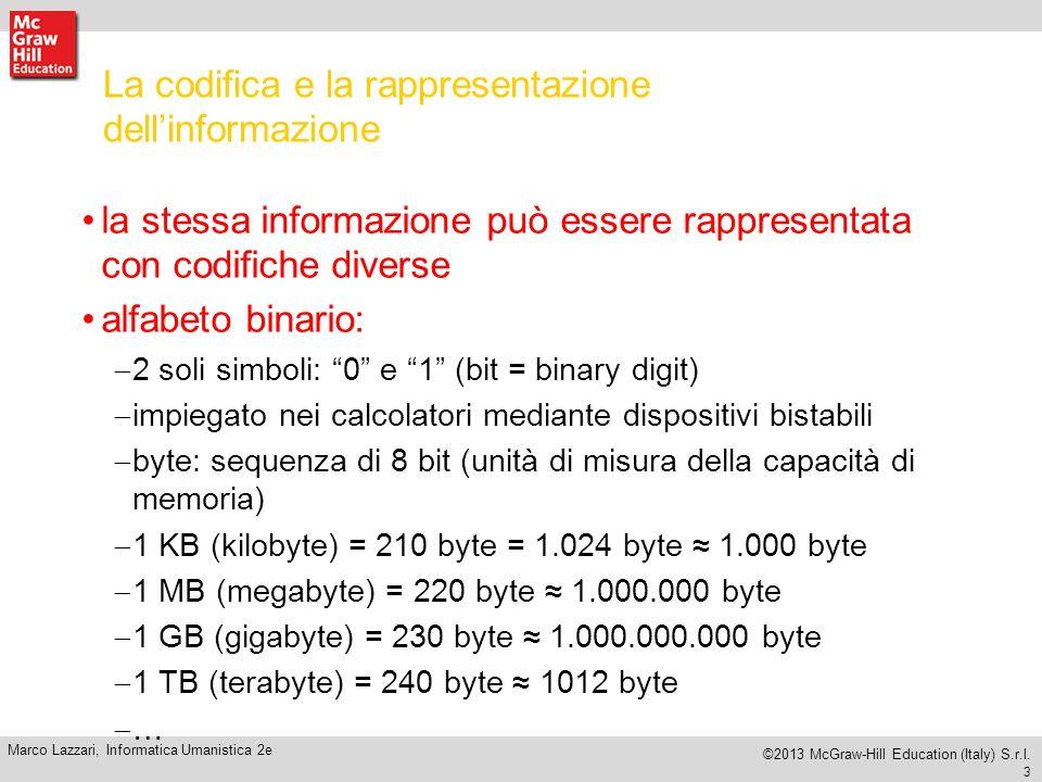 La codifica e la rappresentazione dell'informazione