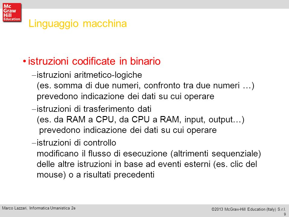 istruzioni codificate in binario