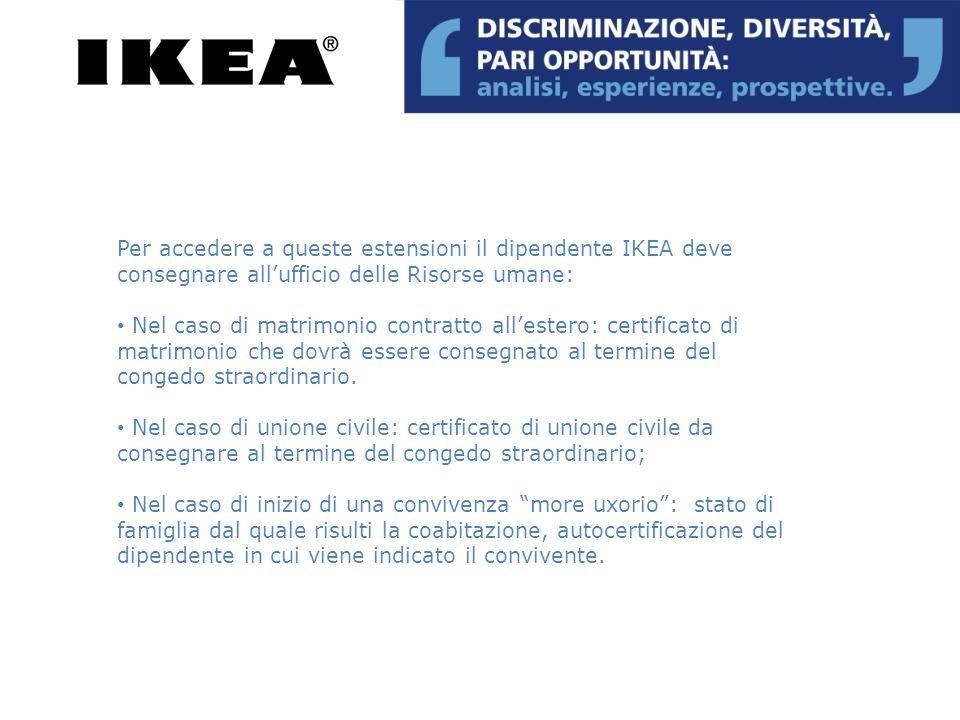 Per accedere a queste estensioni il dipendente IKEA deve consegnare all'ufficio delle Risorse umane: